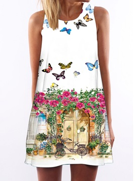 A-Line Short Sleeves Day Dress
