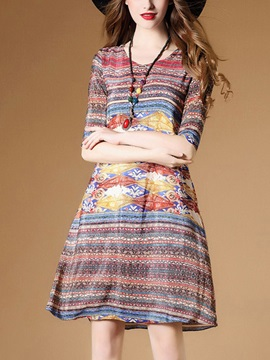 Half Sleeve Floral Imprint Short Day Dress