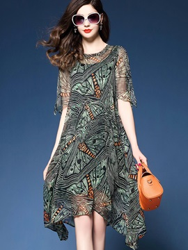 Floral Imprint Short Sleeve Chiffon Short Day Dress