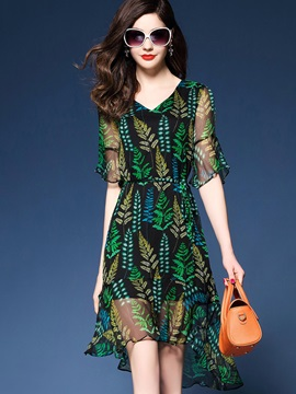 Unique Floral Imprint V Neck Short Day Dress