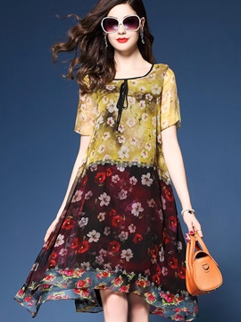 Short Sleeve Floral Imprint Chiffon Short Day Dress