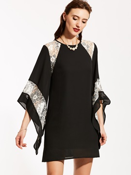 Mesh Patchwork Flare Sleeve Women