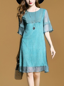 Lake Blue Round Neck Short Day Dress