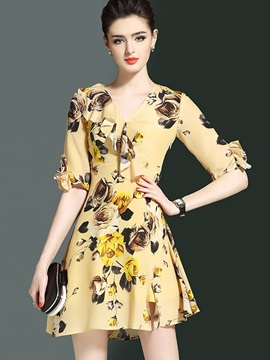 Vogue Floral Imprint Half Sleeve Short Day Dress