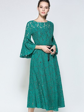 Green Flare Sleeve Short Day Dress