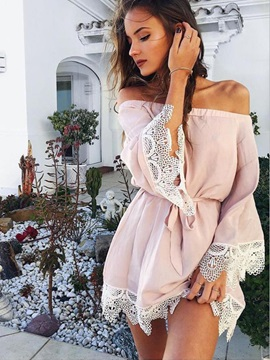 Long Sleeves Lace Patchwork Off Shoulder Women's Dress
