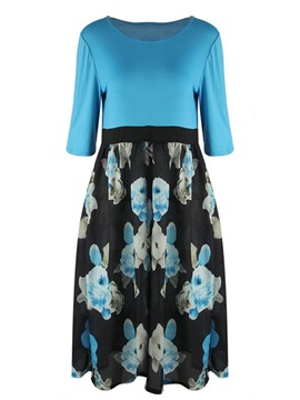 Floral Printed A-Line Patchwork Plus Size  Dress