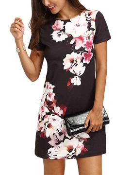 Straight Fit Short Sleeves Floral Women's Day Dress