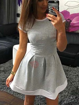 Multi Color Short Sleeves Women's Day Dress