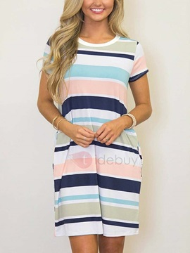 Striped Short Sleeves Casual Fit Day Dress