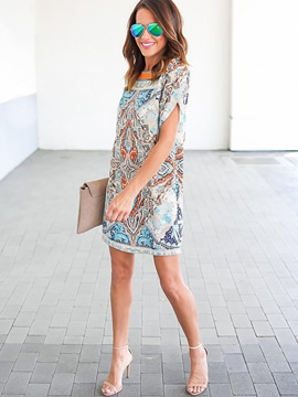 Casual Floral Imprint Short Sleeve Short Day Dress