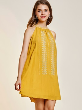 Pure Color Sleeveless Women's Short Day Dress