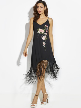 Flower Embroideried Tassel Patchwork Women's A-Line Dress