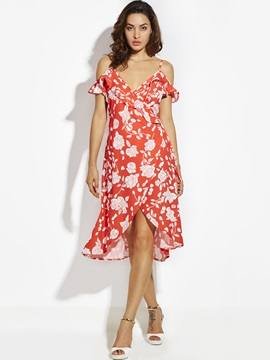 Spaghetti Strap Flower Print Backless Women's Day Dress