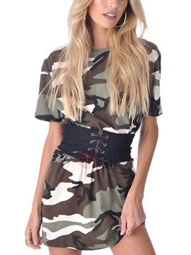 Camouflage Short Sleeves Women's Short Dress