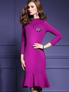 Rose Long Sleeve Women's Short Day Dress