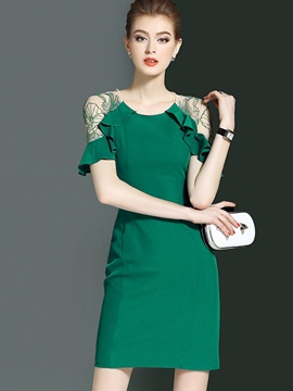 Multi-colored Short Sleeve Women's Short Day Dress