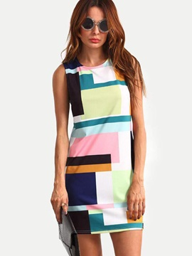 Print Sleeveless Straight Women's Day Dress