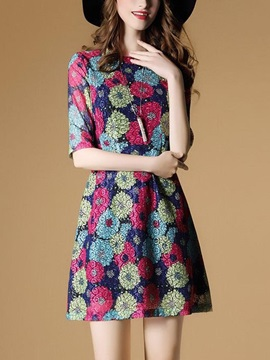 Classy Floral Imprint Half Sleeve Short Day Dress