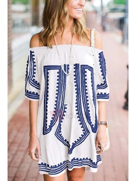 Ethnic Off Shoulder Short Sleeves Women's Dress