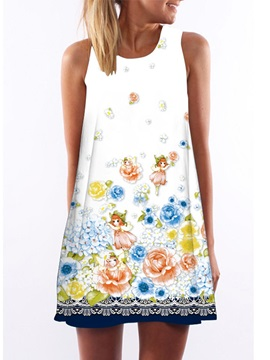 Flower Print Sleeveless Women's Day Dress