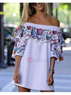 Floral Falpala Off Shoulder Women's Day Dress
