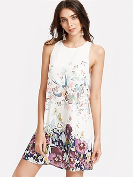 Chic Floral Imprint Sleeveless Short Day Dress