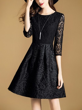 Chic Round Neck Long Sleeve Women's Lace Dress