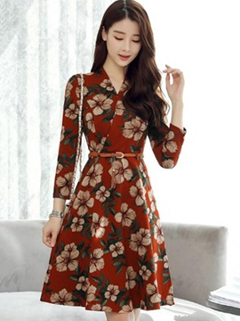 Floral Imprint V Neck Long Sleeve Short Day Dress
