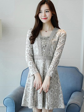 Chic Solid Color Round Neck Lace Dress