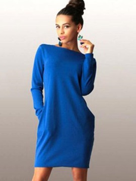 Boat Neck Long Sleeves Slim Fit Women's Dress