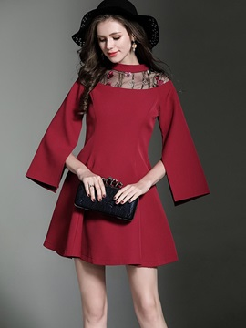 Red Flare Sleeve Round Neck Short Day Dress