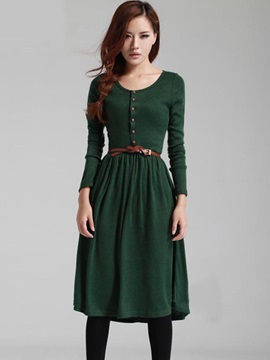 Solid Color Round Neck Long Sleeve Day Dress