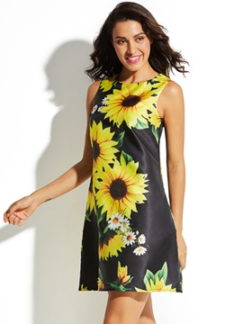 Round Neck Sunflower Print Women's A-Line Dress