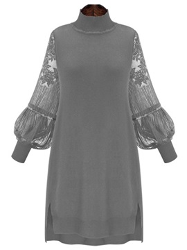 Lace Patchwork Lantern Sleeve Turtle Neck Women's Sweater Dress