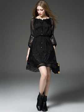 Black Mesh Patchwork Long Sleeve Women's Skater Dress