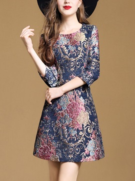Floral Jacquard Three-Quarter Sleeve Women's Day Dress