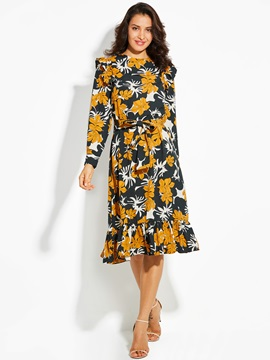 Floral Print Long Sleeve Lace-Up Women's Day Dress