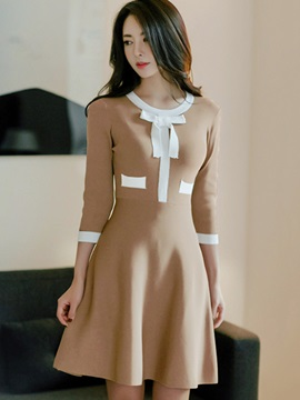 Bowknot 3/4 Sleeve Patchwork Women's Skater Dress