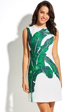 Greenery Leaves Print Sleeveless Women's Skater Dress