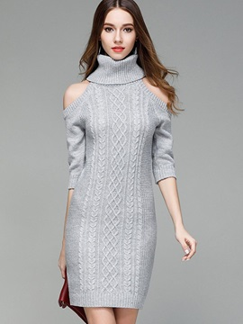 Turtleneck Cold Shoulder 3/4 Sleeve Women's Sweater Dress