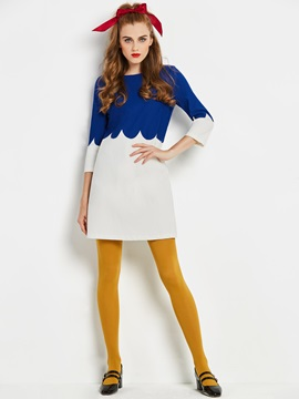Color Block 3/4 Sleeve Women's Skater Dress