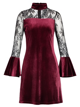 Velvet Stand Collar Lace Patchwork Flare Sleeve Women's Bodycon Dress