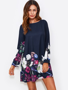 Floral Print Long Sleeve Women's Casual Dress