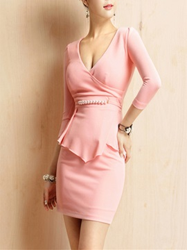 V-Neck Double-Layer Long Sleeve Women's Bodycon Dress
