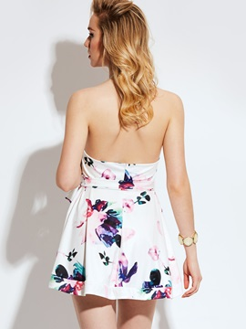 Floral Sleeveless Backless Women's Dress
