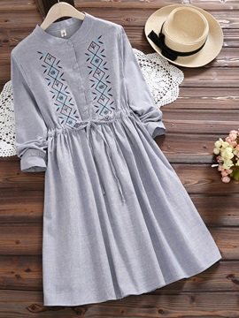 Tidebuy Embroidery A-Line Stand Collar Women's Day Dress