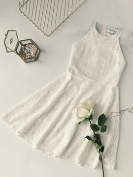 Tidebuy Round Neck Pullover Sleeveless Women's Lace Dress