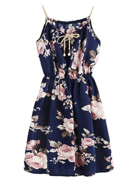 Tidebuy Lace-Up Floral Print Women's A-Line Dress