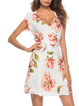 Tidebuy A-line Floral V Neck Day Dress